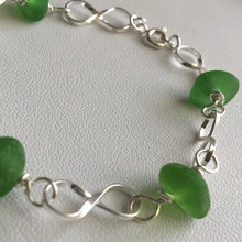 Load image into Gallery viewer, sea glass bracelet sterling green linked