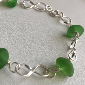 sea glass bracelet sterling green linked