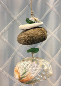 Sea Glass Mobile with Driftwood
