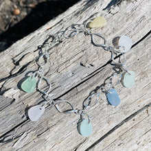 Load image into Gallery viewer, Sterling Silver Sea Glass Dangle Charm Bracelet