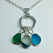 Load image into Gallery viewer, sea glass necklace sterling silver bezel set seaglass