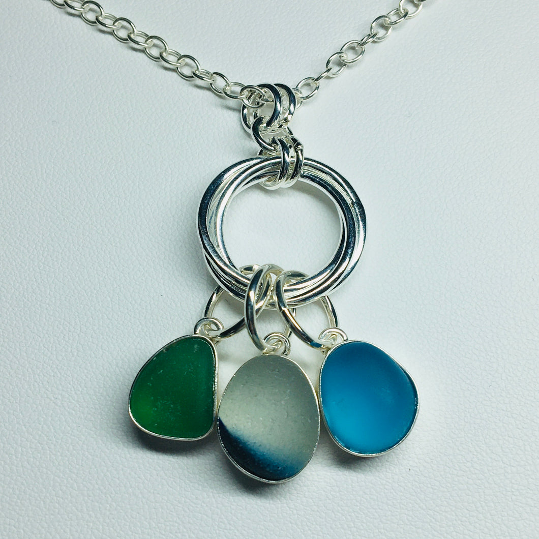 sea glass necklace sterling silver bezel set seaglass