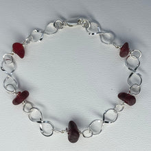 Load image into Gallery viewer, sea glass bracelet red linked sterling