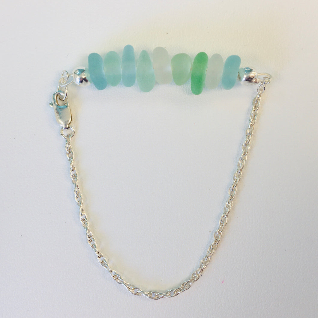 Sterling Silver Sea Glass Bracelet with Lobster Claw Clasp