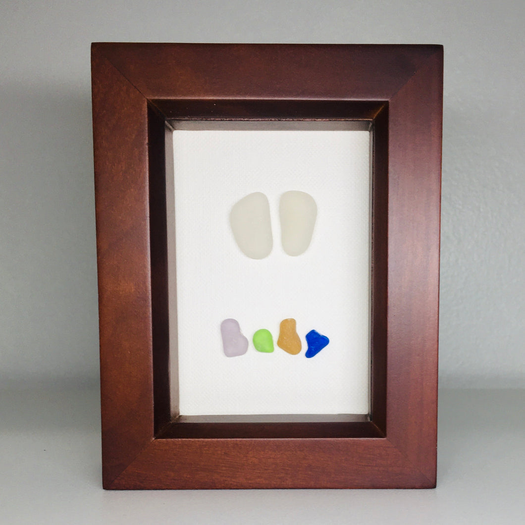 Mini Baby with Feet in Sea Glass in Shadow Box Frame