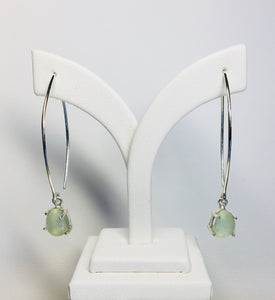 All Natural Sea Glass Sterling Silver Prong Set Earrings