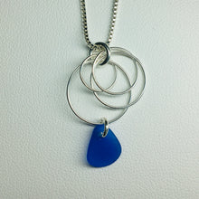 Load image into Gallery viewer, sea glass necklace sterling silver cobalt blue