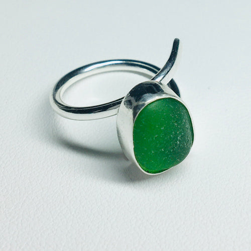sea glass ring bezel set green