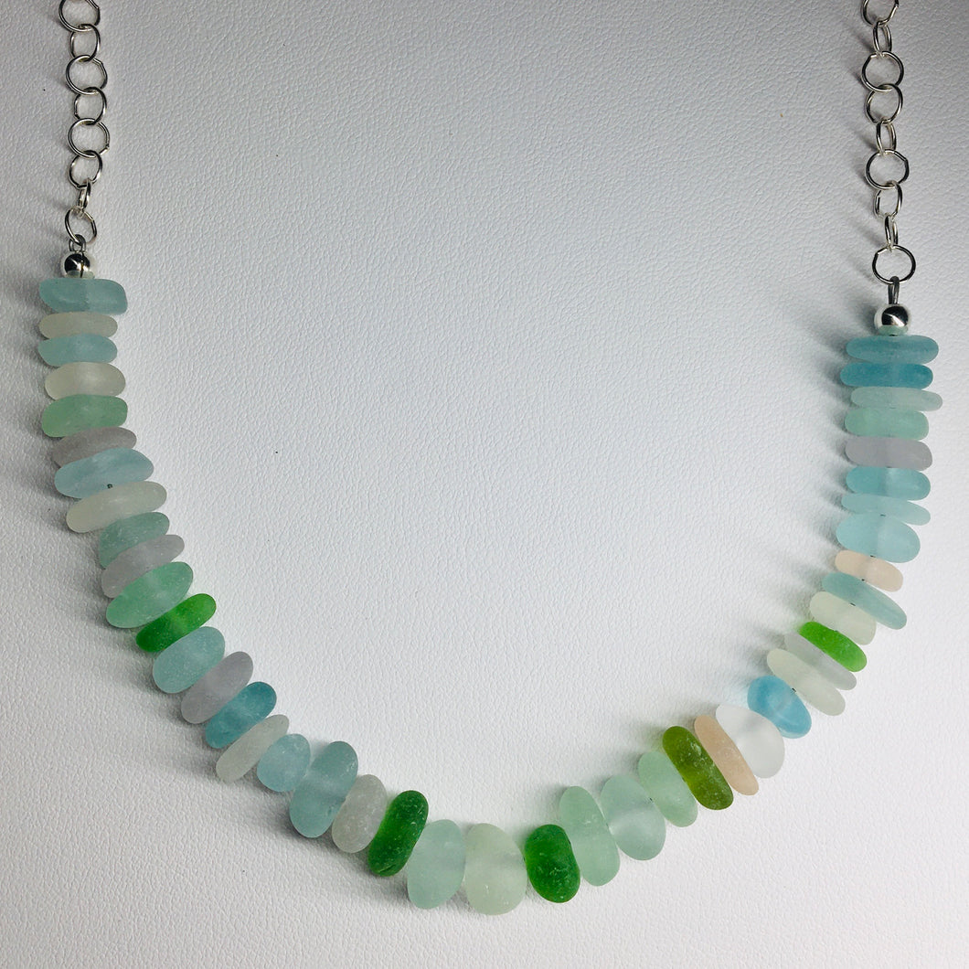 All Natural Sea Glass Ocean Necklace Sterling Silver
