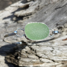 Load image into Gallery viewer, Sterling Silver Bezel Set Sea Glass Hinged Bangle Bracelet