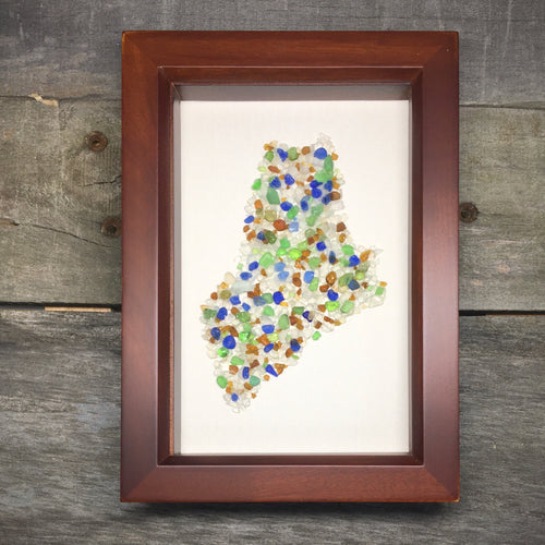 Framed State of Maine in Natural Sea Glass