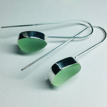 Load image into Gallery viewer, sea glass earrings sterling bezel set aqua