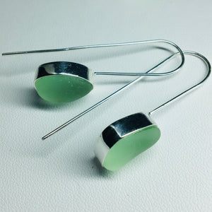 sea glass earrings sterling bezel set aqua