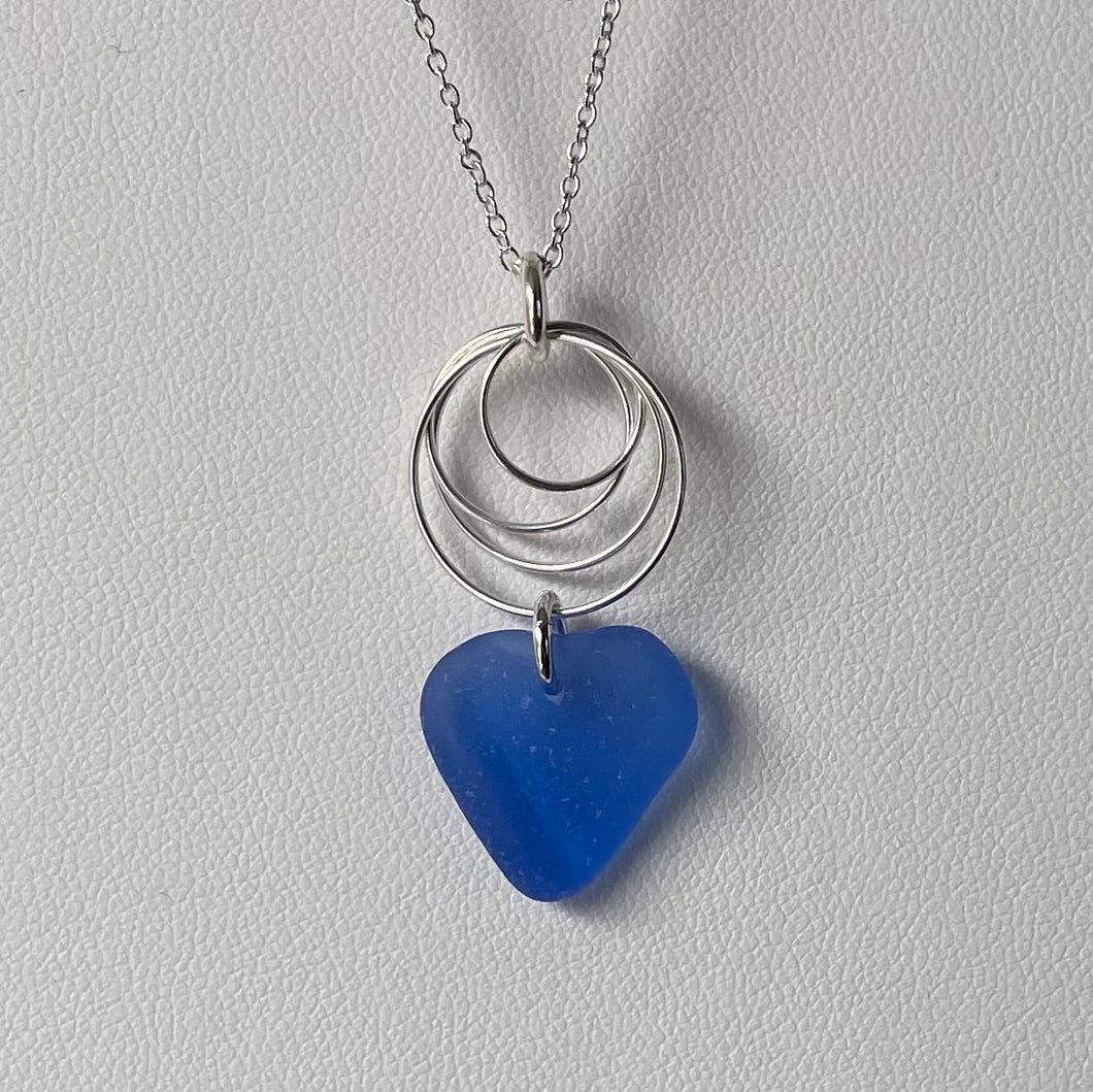 sea glass necklace sterling silver circles blue