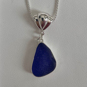 cobalt blue bezel set sea glass necklace