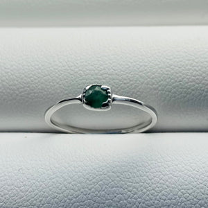 sterling silver gemstone ring emerald