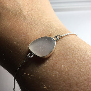 Bezel Set Sea Glass Box Chain Bracelet