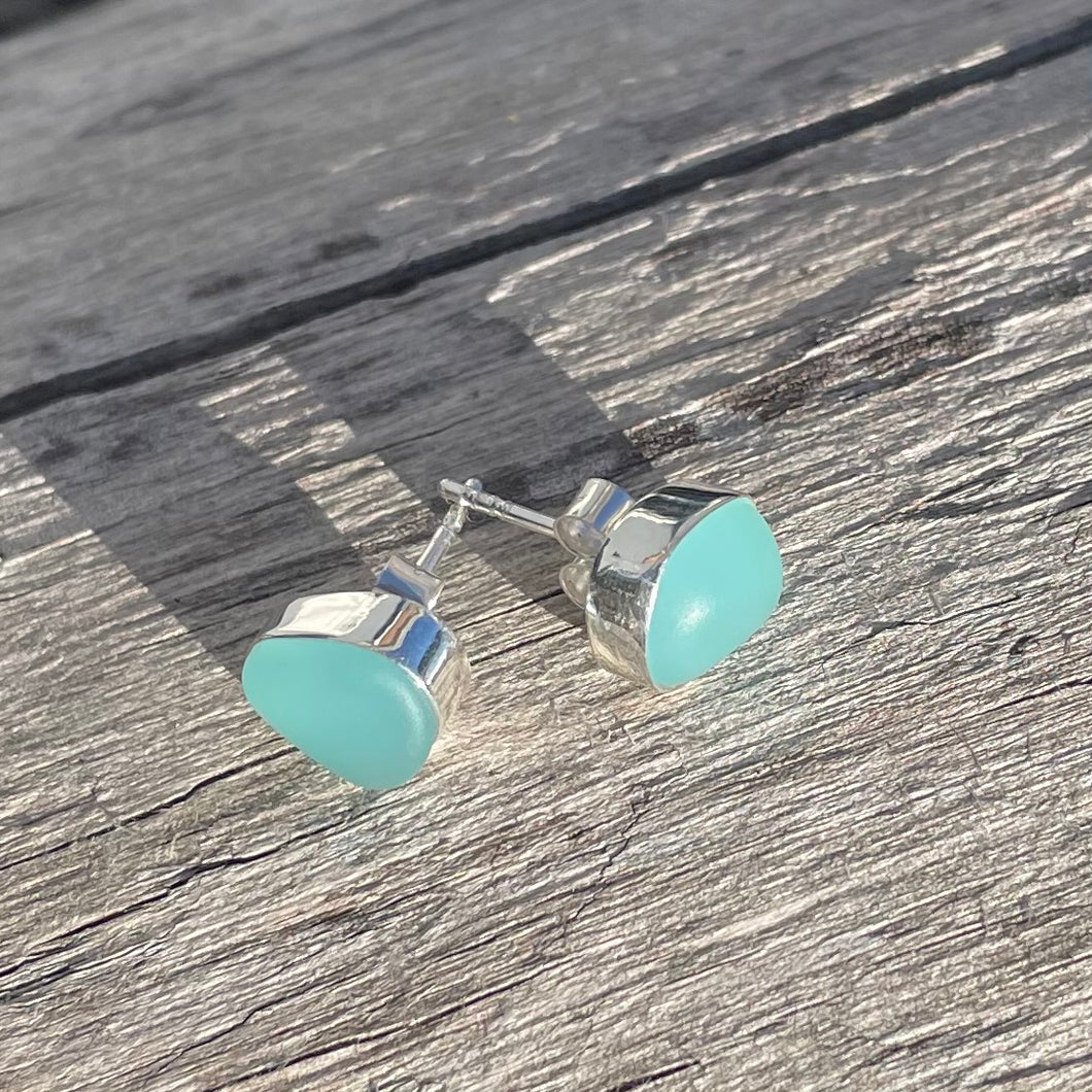 sterling silver aqua sea glass post earrings
