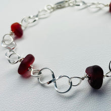 Load image into Gallery viewer, sea glass bracelet red linked