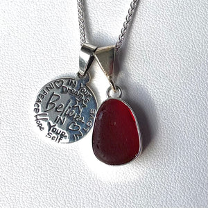 sea glass necklace bezel set red charm