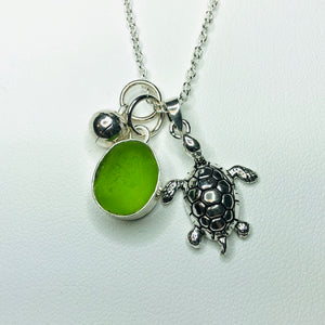 Sterling Silver and Sea Glass Sea Turtle Necklace