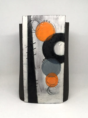 Large Wrap Pot - Textured black with two bold neon orange circles