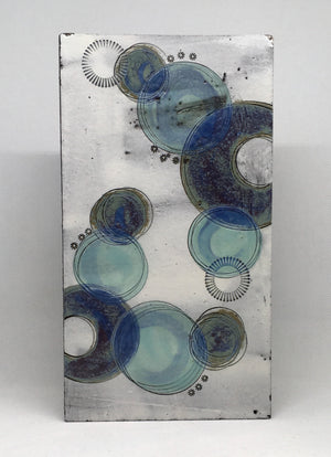 Medium wall plaque - with purple crescents and blue circles