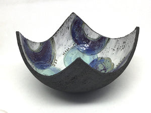Bowl - Textured black with purple crescents and blue circles