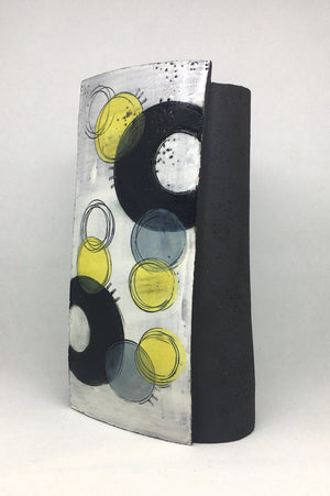 Large Wrap Pot - Textured black with black crescent and many bold yellow spots
