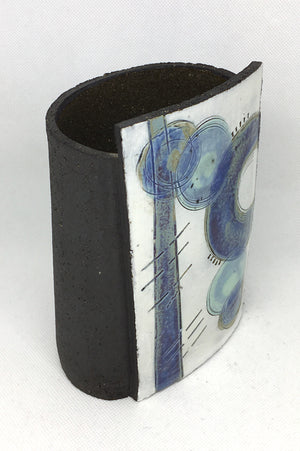 Small wrap Pot - Textured black with bold purple line and purple crescent