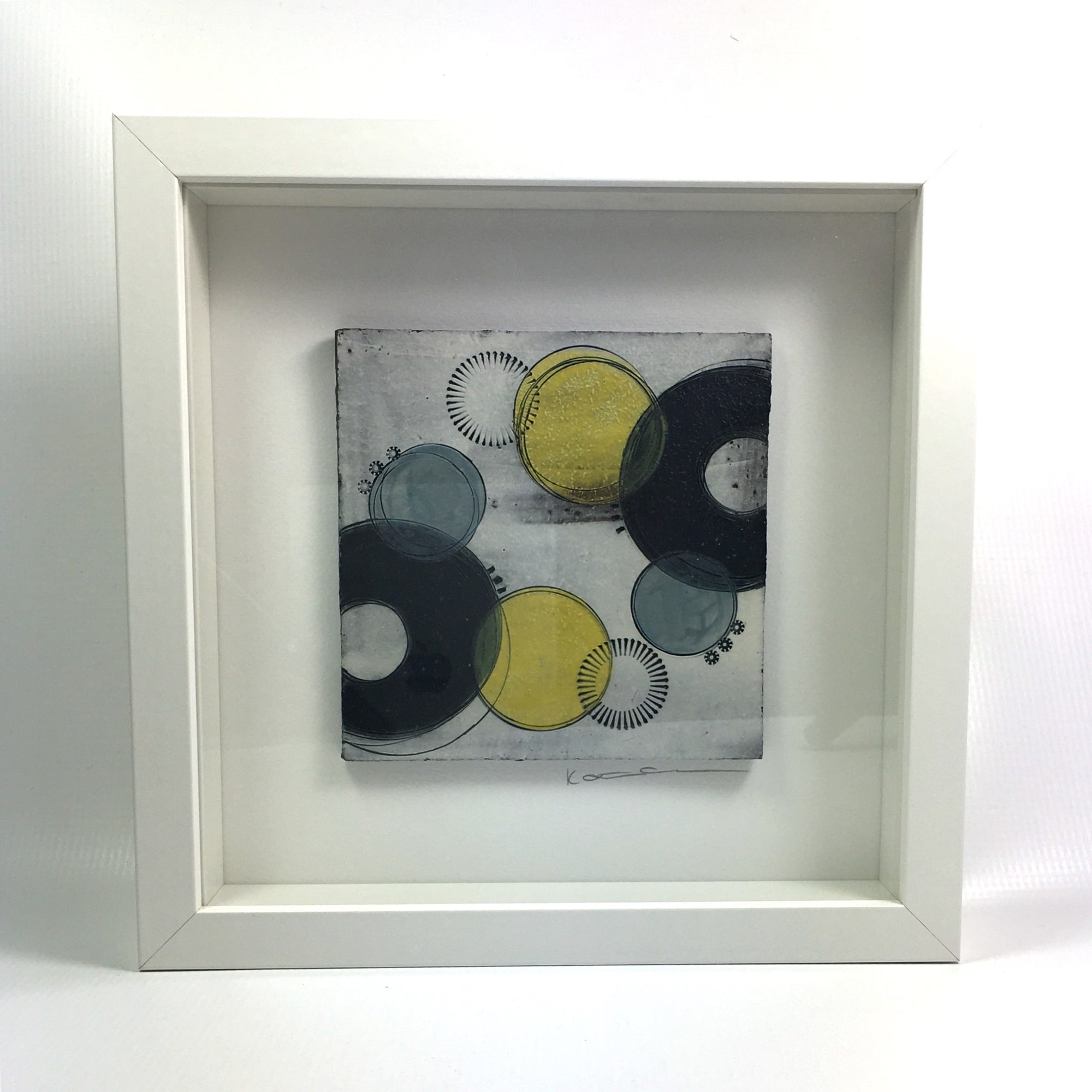 Framed small wall plaque - black crescents and vibrant yellow spots