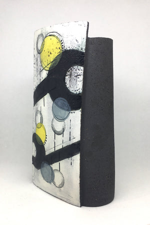 Large Wrap Pot - Textured black with black crescents and lines and yellow spots