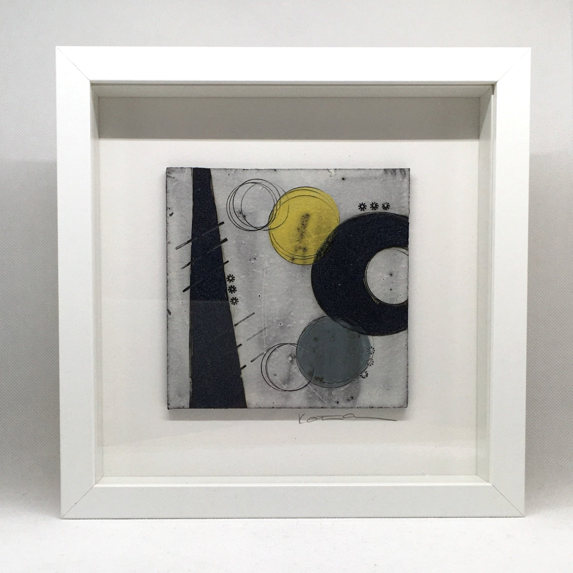 Framed small wall plaque - black crescent and line with vibrant yellow spot