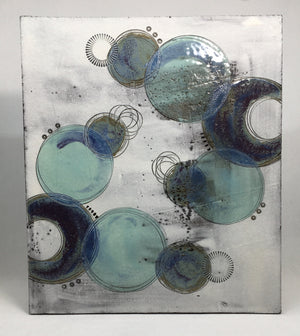 Large wall plaque - with purple crescents and blue circles