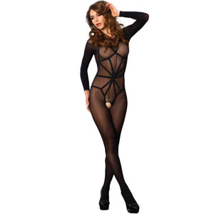 LEG AVENUE OPAQUE ILLUSION BODYSTOCKING REALZADOR NEGRO