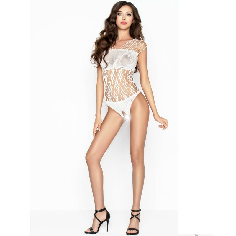 PASSION WOMAN BS035 BODYSTOCKING BLANCO TALLA UNICA