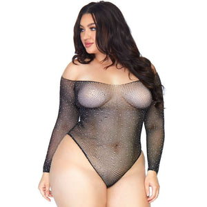 LEG AVENUE CRYSTALIZED FISHNET BODYSTOCKING 1X 2X