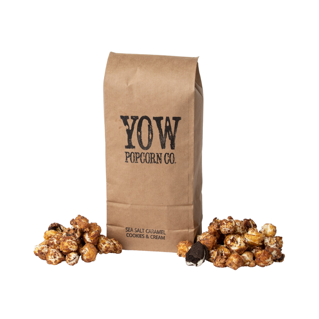 YOW Popcorn Co. Sea Salt Caramel Cookies and Cream