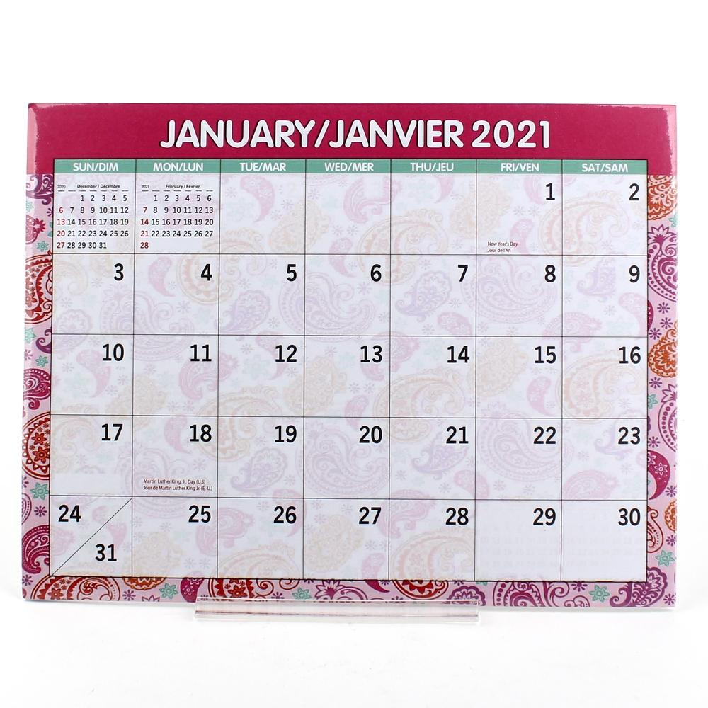 2021 12 Month Desk Pad Calendar2/s 8.5inchx11inch12 sheets 48/dsp(Biling.)