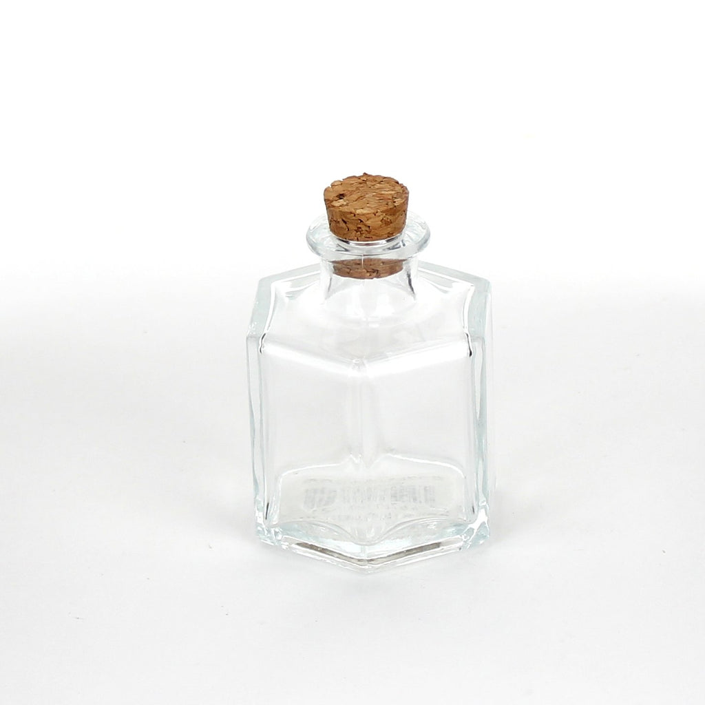 Glass Bottle (Mini/With Cork/Hexagon/See-Through/7.2X4.7X5.5Cm)