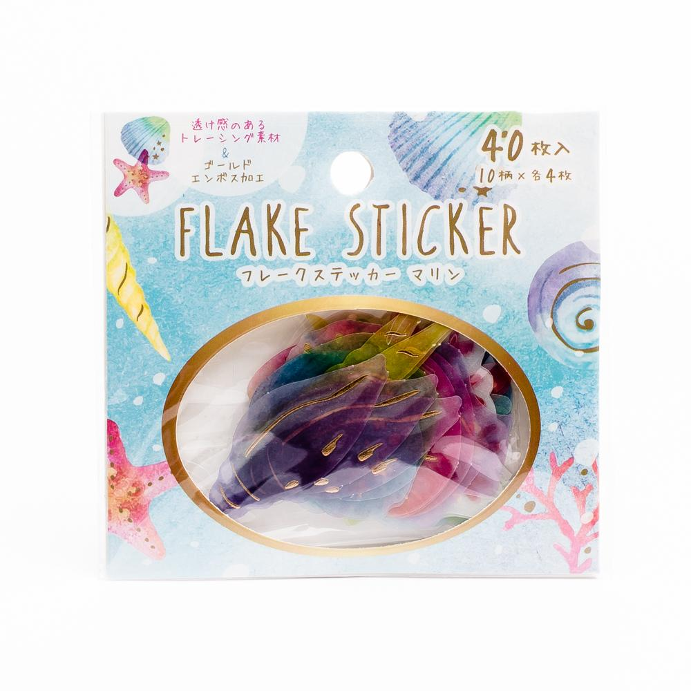 Sticker Flakes (Seashells/Colourful/3.5x3.5x0.1cm (40pcs))