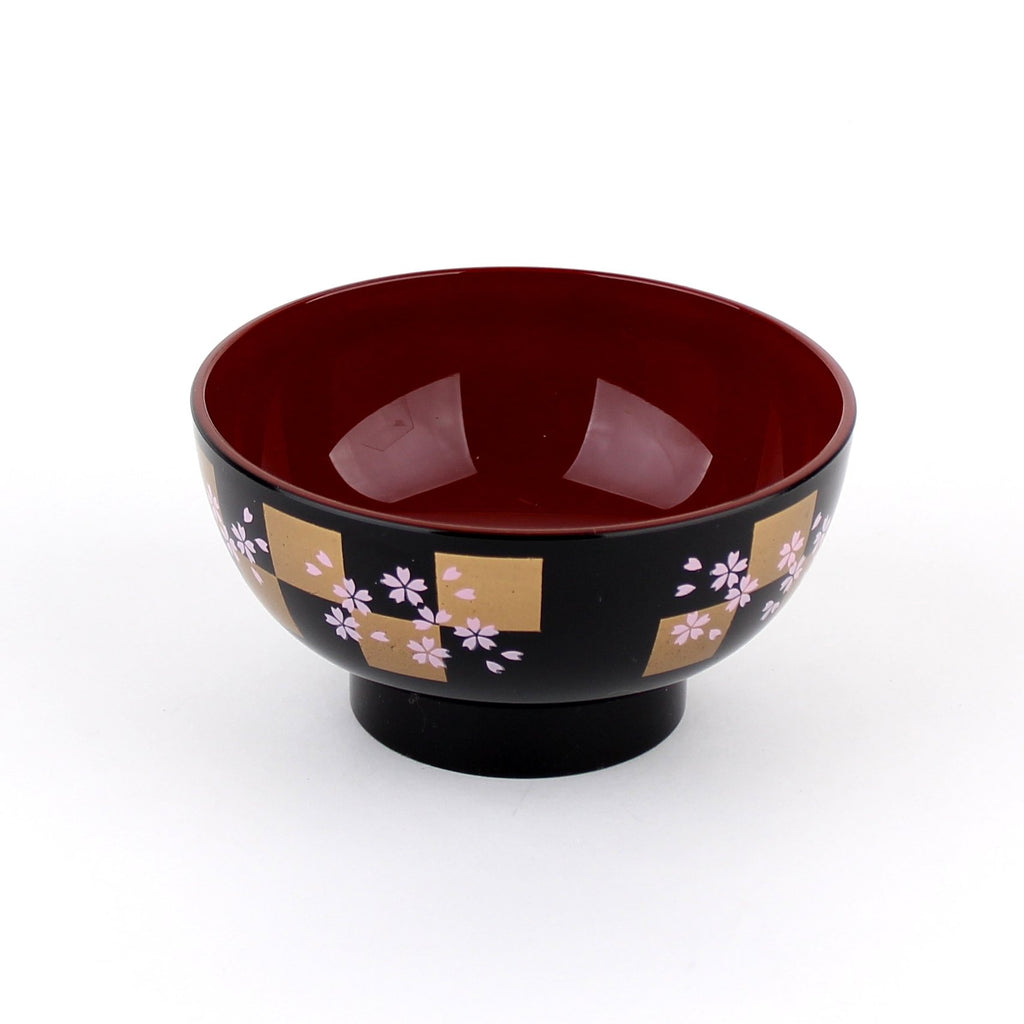 Soup Bowl (ABS/Traditional Black Lacquerware Design/Not Microwave-Dishwasher Safe/Cherry Blossom/6cm/d.11.7cm)
