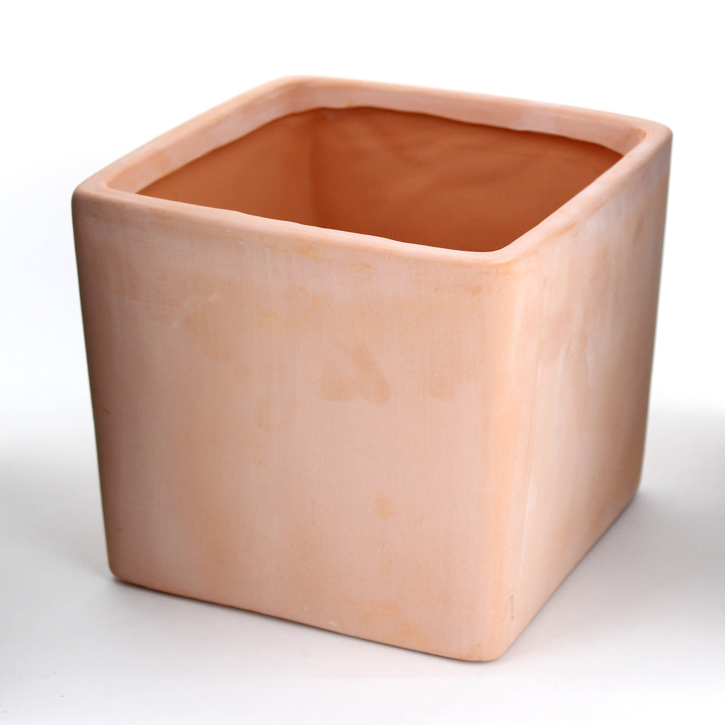 "Terracotta Wash Cube Vase 7"" M:6 Pc"