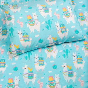Kids Organic Llama Love Twin Sheet Set