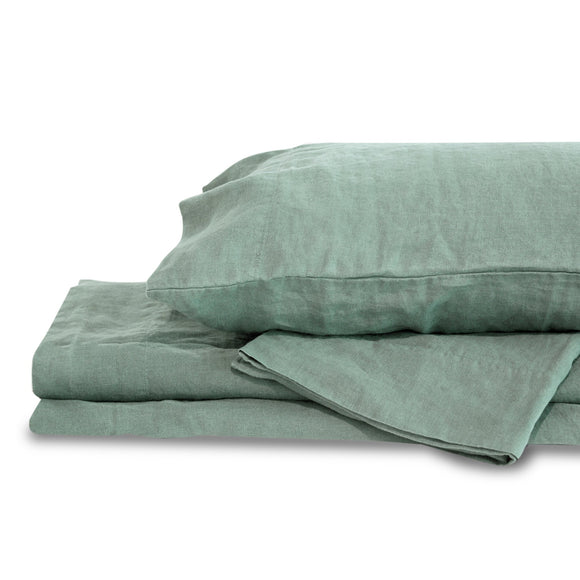 Mineral Green Hemp Sheet Set