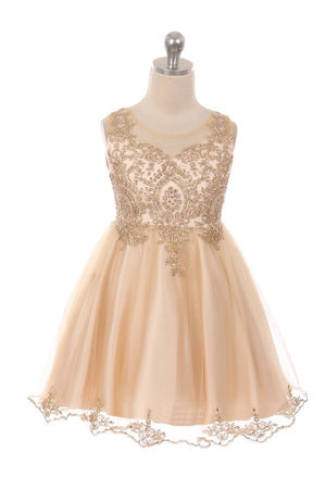 Designer Graduation Dress in Champagne