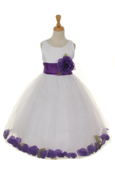 Ashley Dress with Purple Petals and Sash