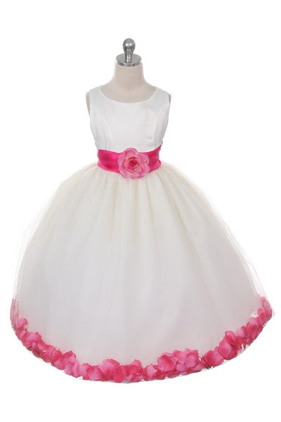 Ashley Dress with Fuschia Petals and Sash