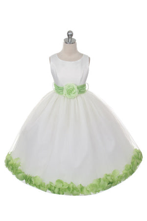Ashley Dress with Lime Petals and Sash