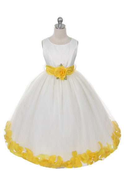 Ashley Dress with Yellow Petals and Sash